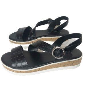 New Marc Fisher Black Wedge Platform Sandals